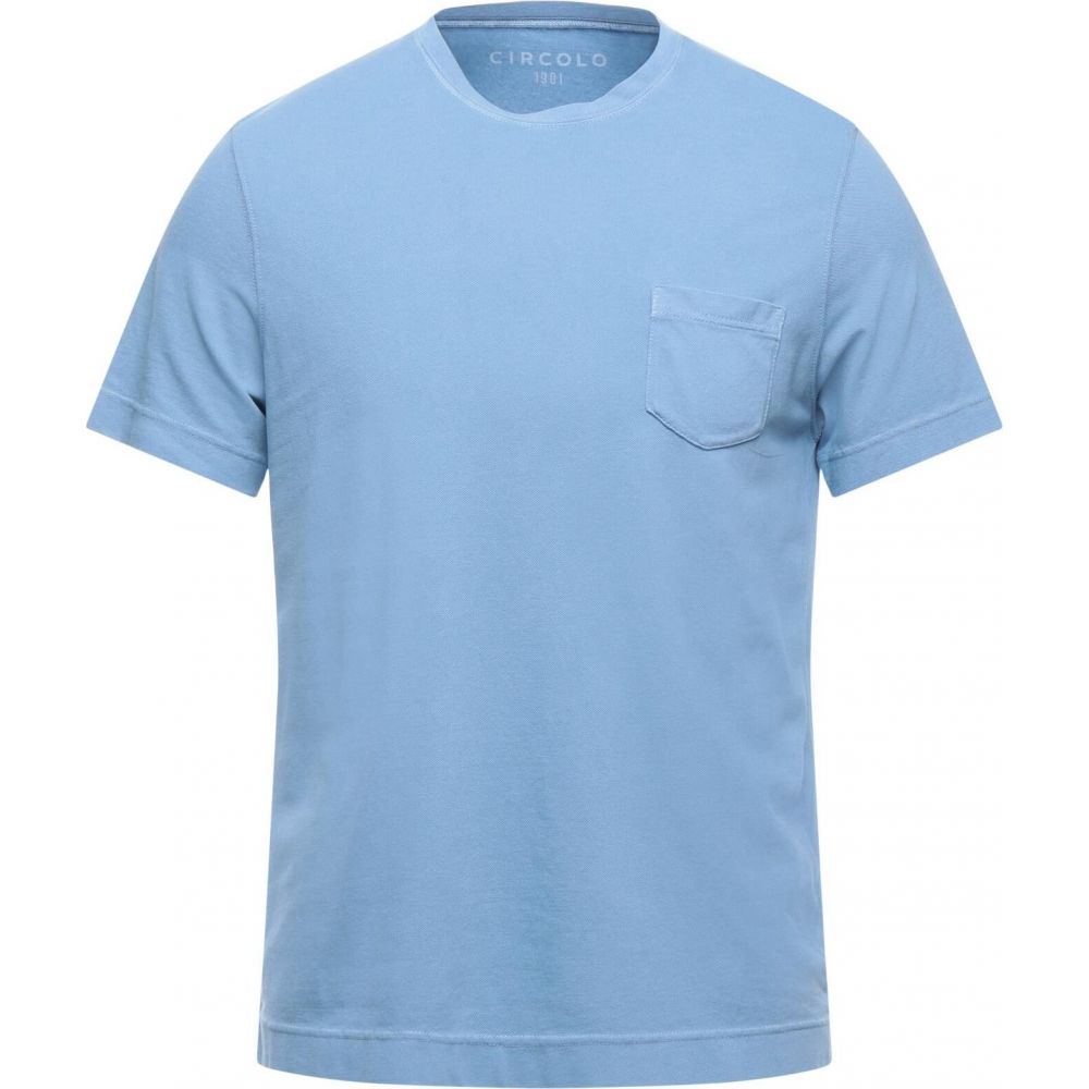 卓抜 チルコロ1901 メンズ トップス Tシャツ Pastel 市販 CIRCOLO 1901 t-shirt サイズ交換無料 blue