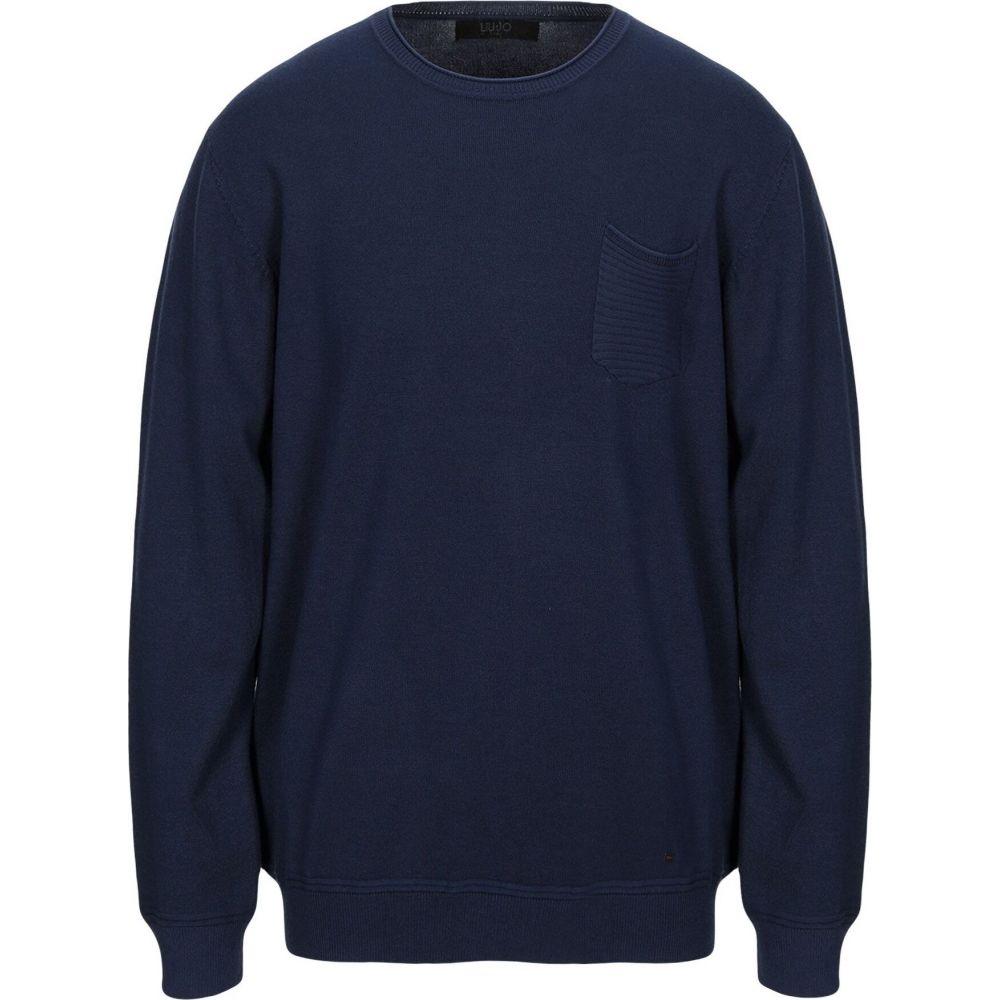 リウジョー メンズ トップス ニット 即納 セーター ラッピング無料 Blue LIU JO MAN sweater サイズ交換無料
