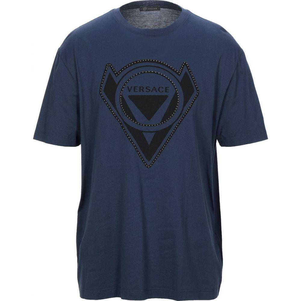 ヴェルサーチ VERSACE メンズ Tシャツ トップス【t-shirt】Dark blue