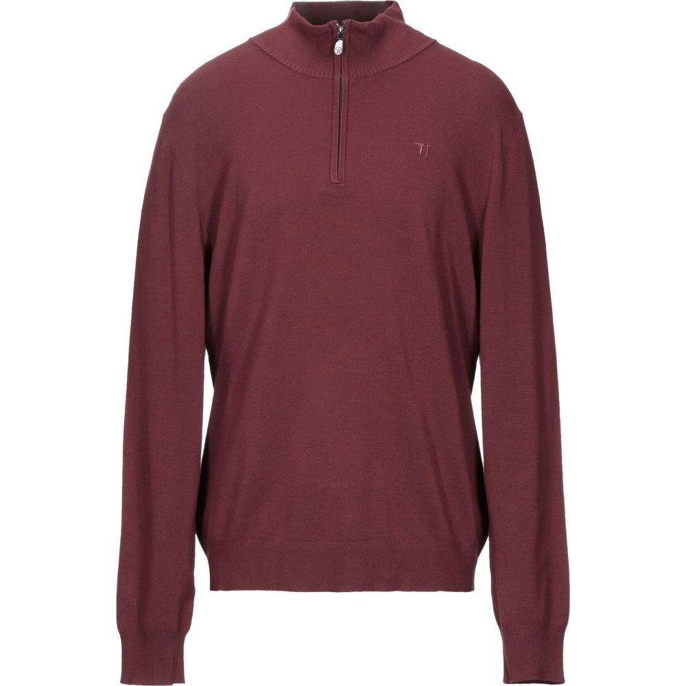 トラサルディ TRUSSARDI JEANS メンズ ニット・セーター トップス【sweater with zip】Maroon