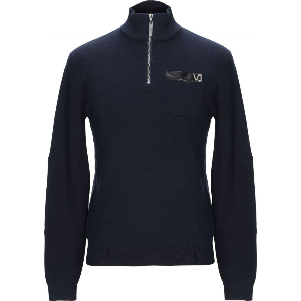 ヴェルサーチ VERSACE JEANS メンズ ニット・セーター トップス【sweater with zip】Dark blue