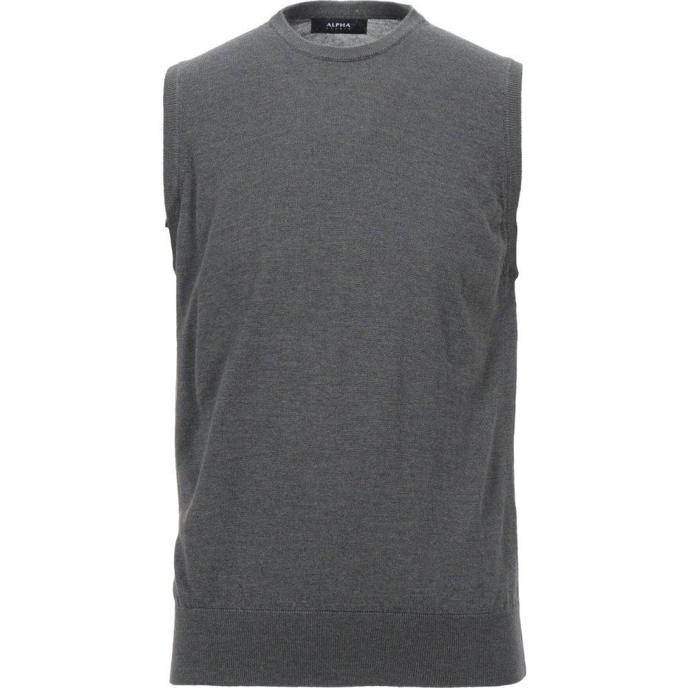 アルファス テューディオ ALPHA STUDIO メンズ ベスト・ジレ トップス【sleeveless sweater】Steel grey