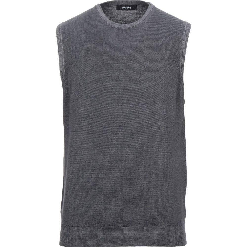 アルファス テューディオ ALPHA STUDIO メンズ ベスト・ジレ トップス【sleeveless sweater】Lead