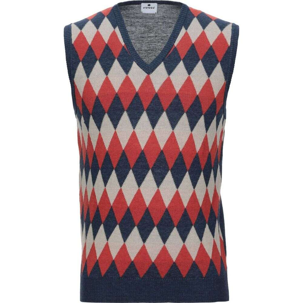 アンドレア フェンツィ ANDREA FENZI メンズ ベスト・ジレ トップス【sleeveless sweater】Blue