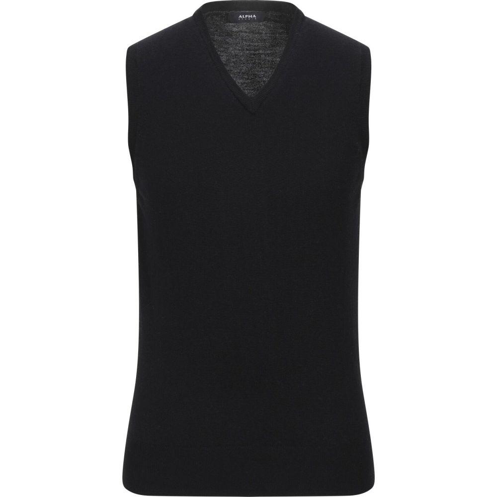 アルファス テューディオ ALPHA STUDIO メンズ ベスト・ジレ トップス【sleeveless sweater】Black
