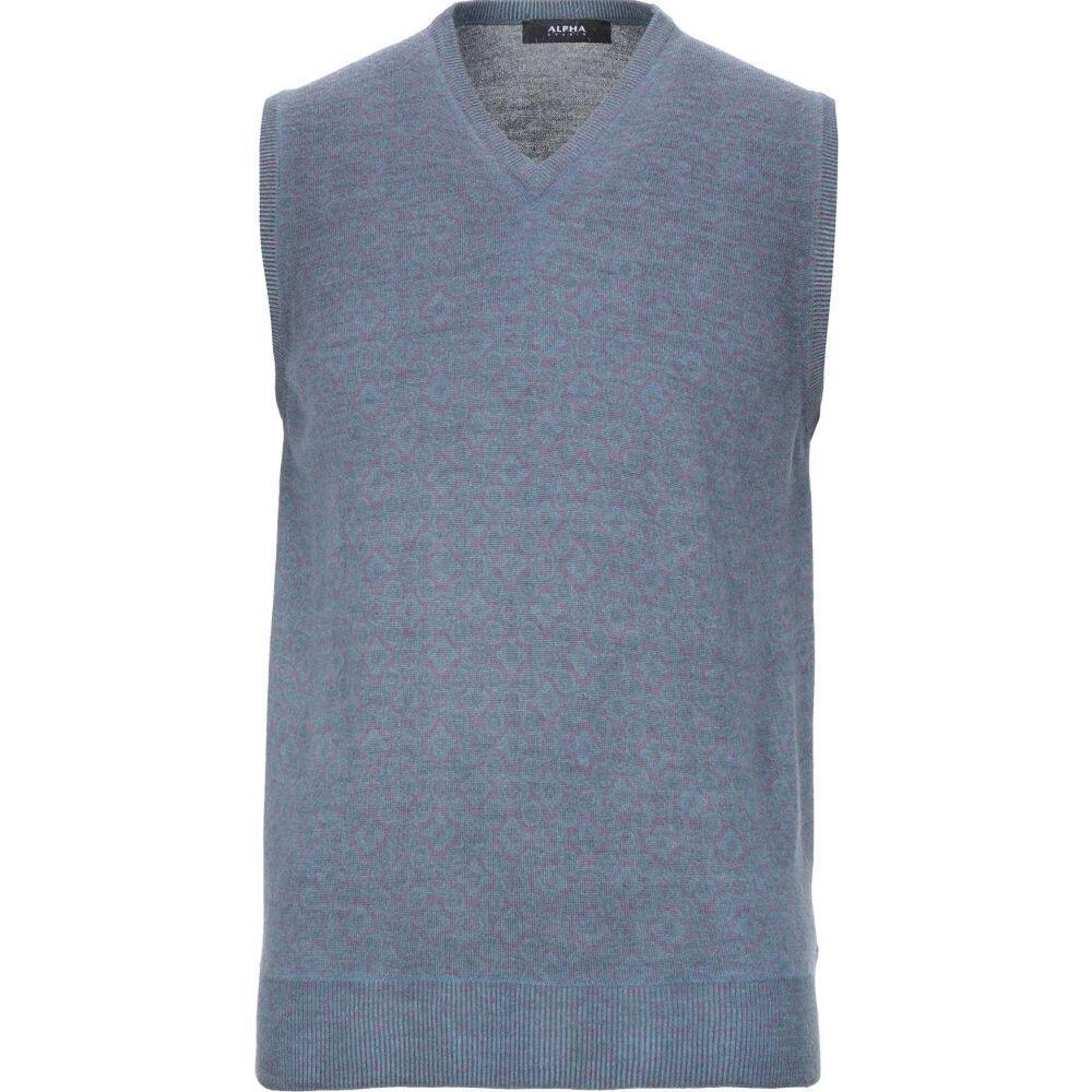 アルファス テューディオ ALPHA STUDIO メンズ ベスト・ジレ トップス【sleeveless sweater】Slate blue