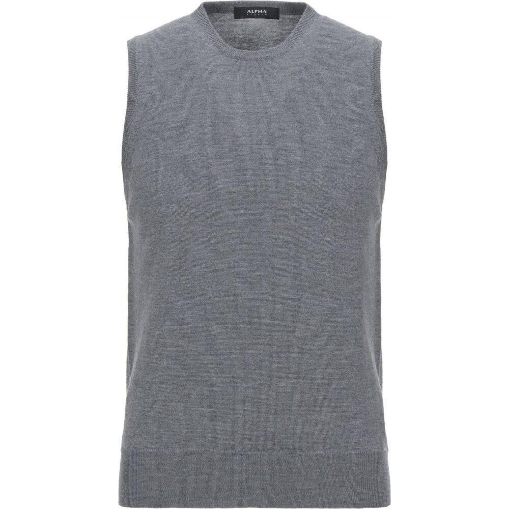 アルファス テューディオ ALPHA STUDIO メンズ ベスト・ジレ トップス【sleeveless sweater】Light grey