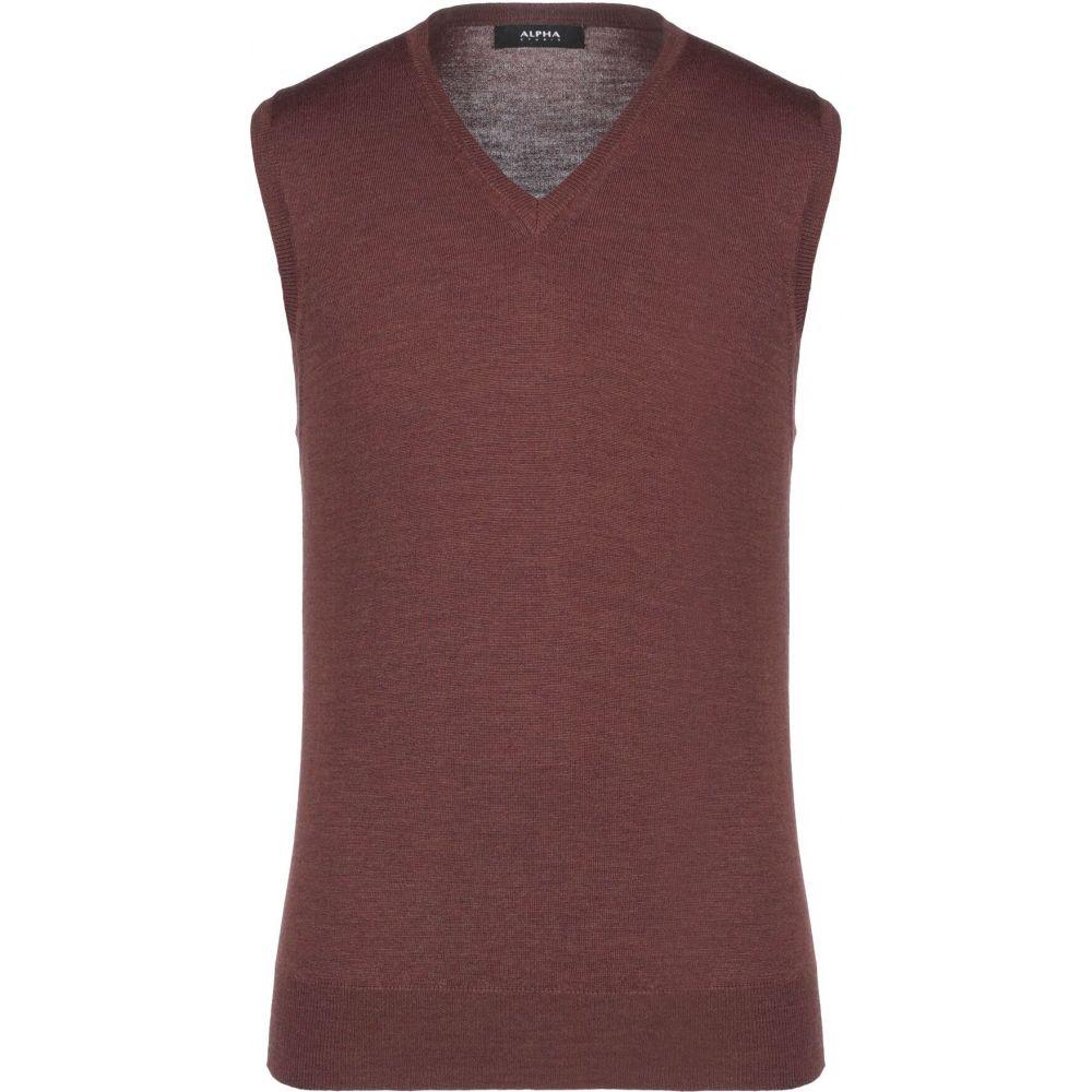 アルファス テューディオ ALPHA STUDIO メンズ ベスト・ジレ トップス【sleeveless sweater】Brown