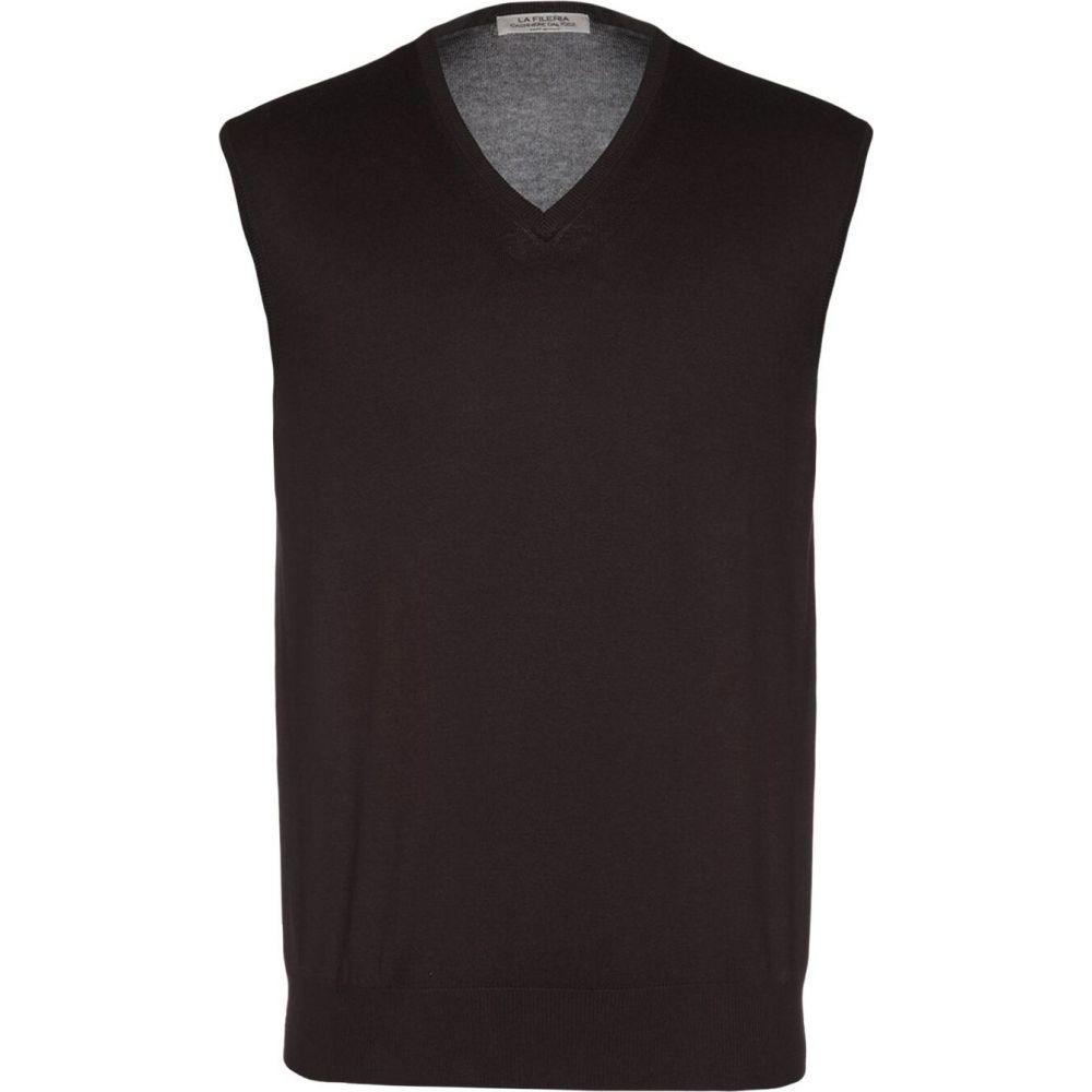 ラ フィレリア LA FILERIA メンズ ベスト・ジレ トップス【sleeveless sweater】Dark brown
