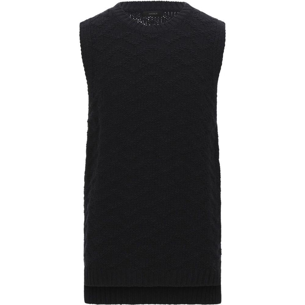 レトア RETOIS メンズ ベスト・ジレ トップス【sleeveless sweater】Black