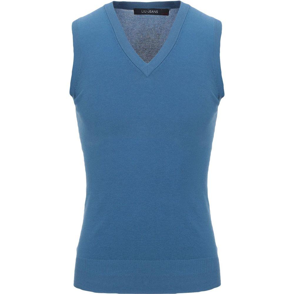 リウジョー LIU JO MAN メンズ ベスト・ジレ トップス【sleeveless sweater】Slate blue