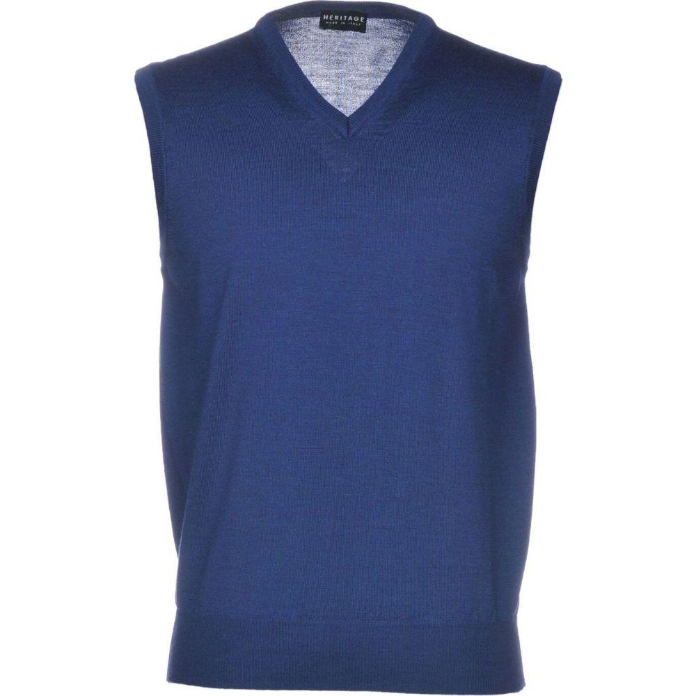 ヘリテイジ HERITAGE メンズ ベスト・ジレ トップス【sleeveless sweater】Pastel blue