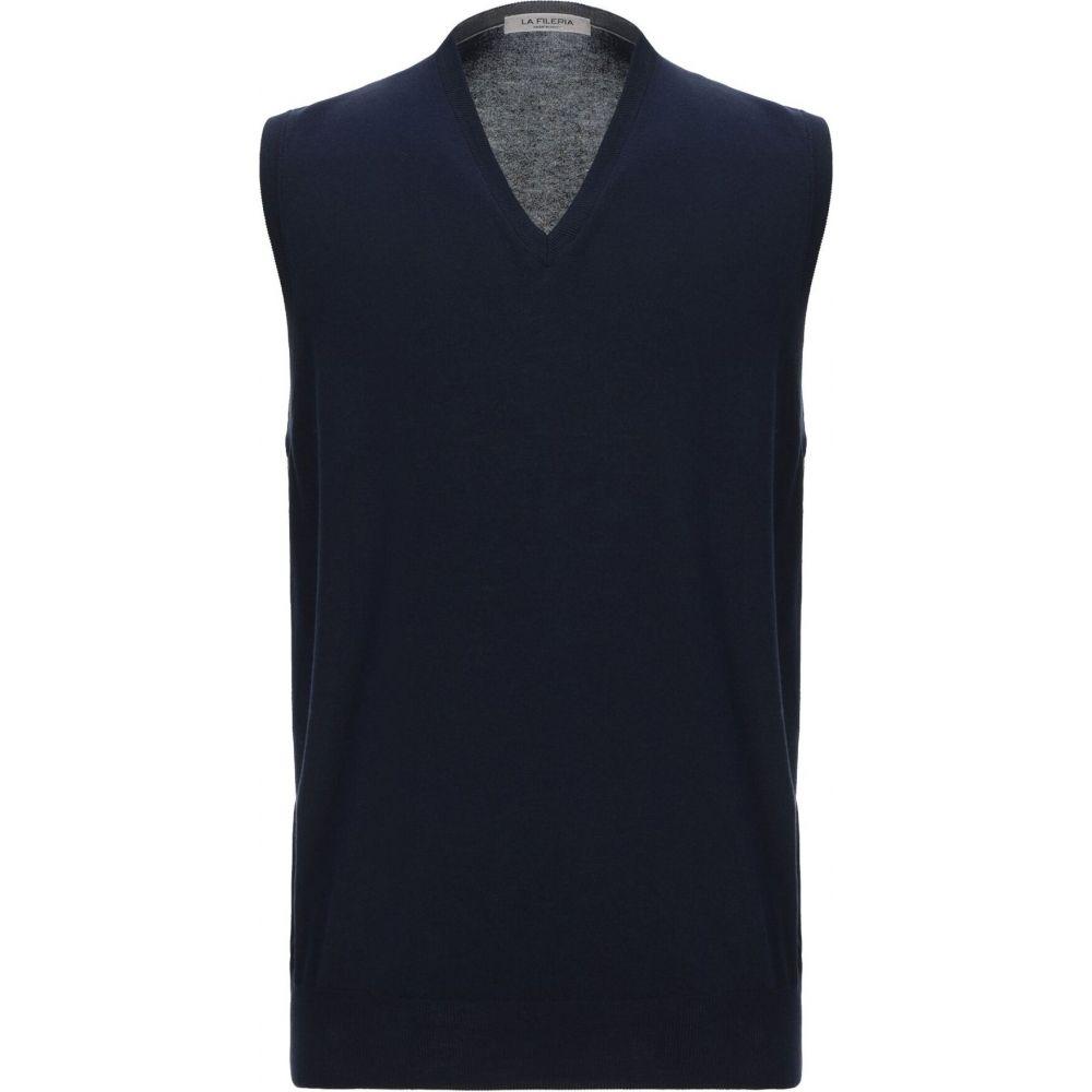 ラ フィレリア LA FILERIA メンズ ベスト・ジレ トップス【sleeveless sweater】Dark blue