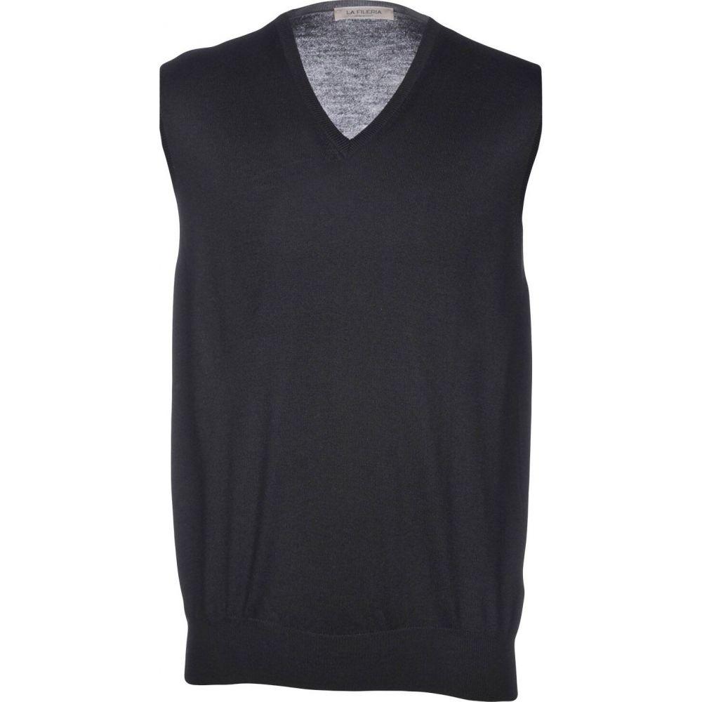ラ フィレリア LA FILERIA メンズ ベスト・ジレ トップス【sleeveless sweater】Black