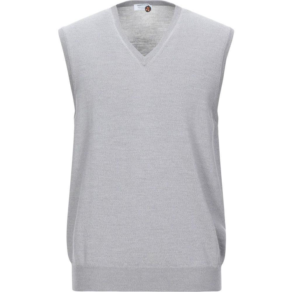 ヘリテイジ HERITAGE メンズ ベスト・ジレ トップス【sleeveless sweater】Grey