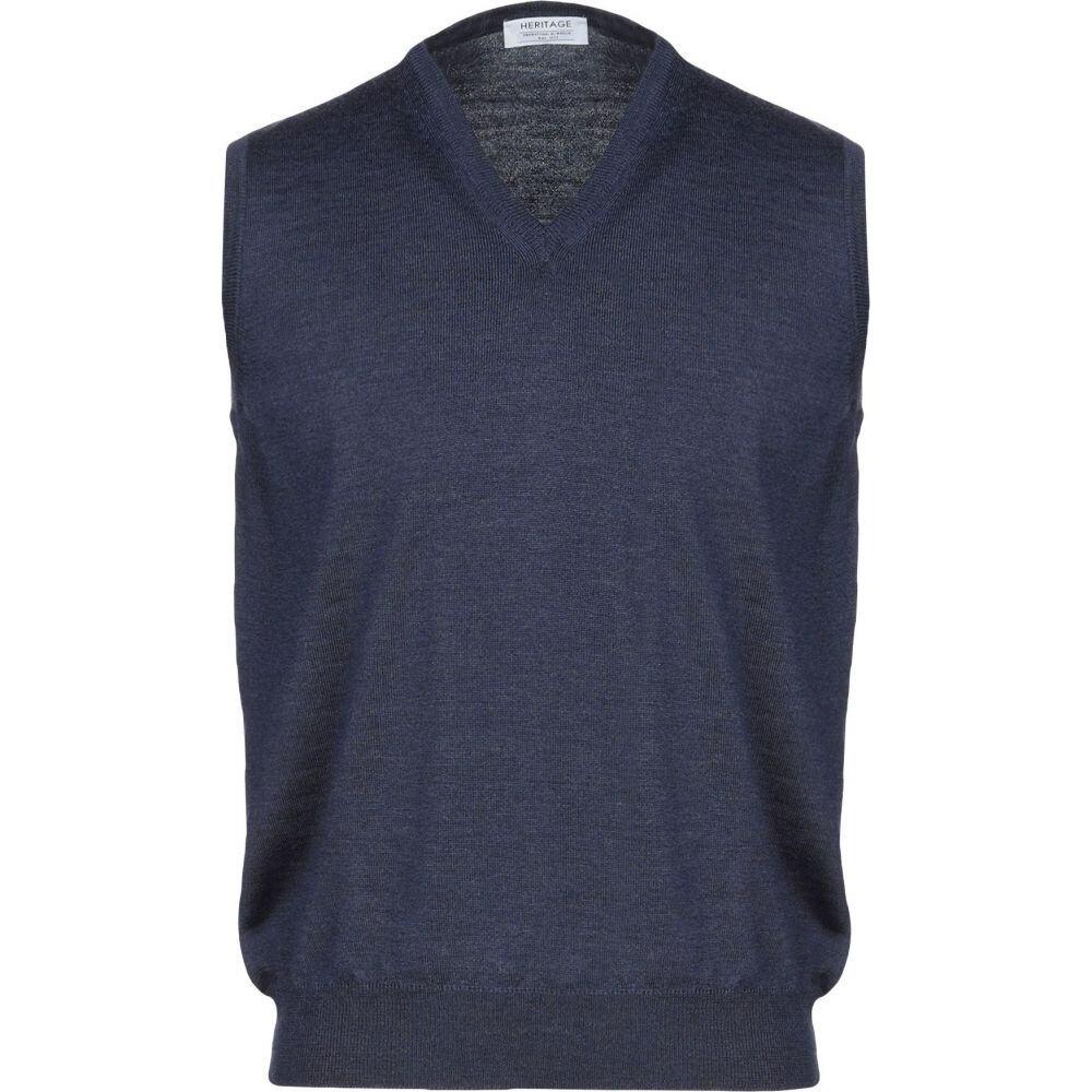 ヘリテイジ HERITAGE メンズ ベスト・ジレ トップス【sleeveless sweater】Dark blue