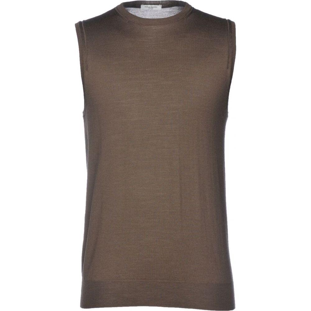 パオロ ペコラ PAOLO PECORA メンズ ベスト・ジレ トップス【sleeveless sweater】Khaki
