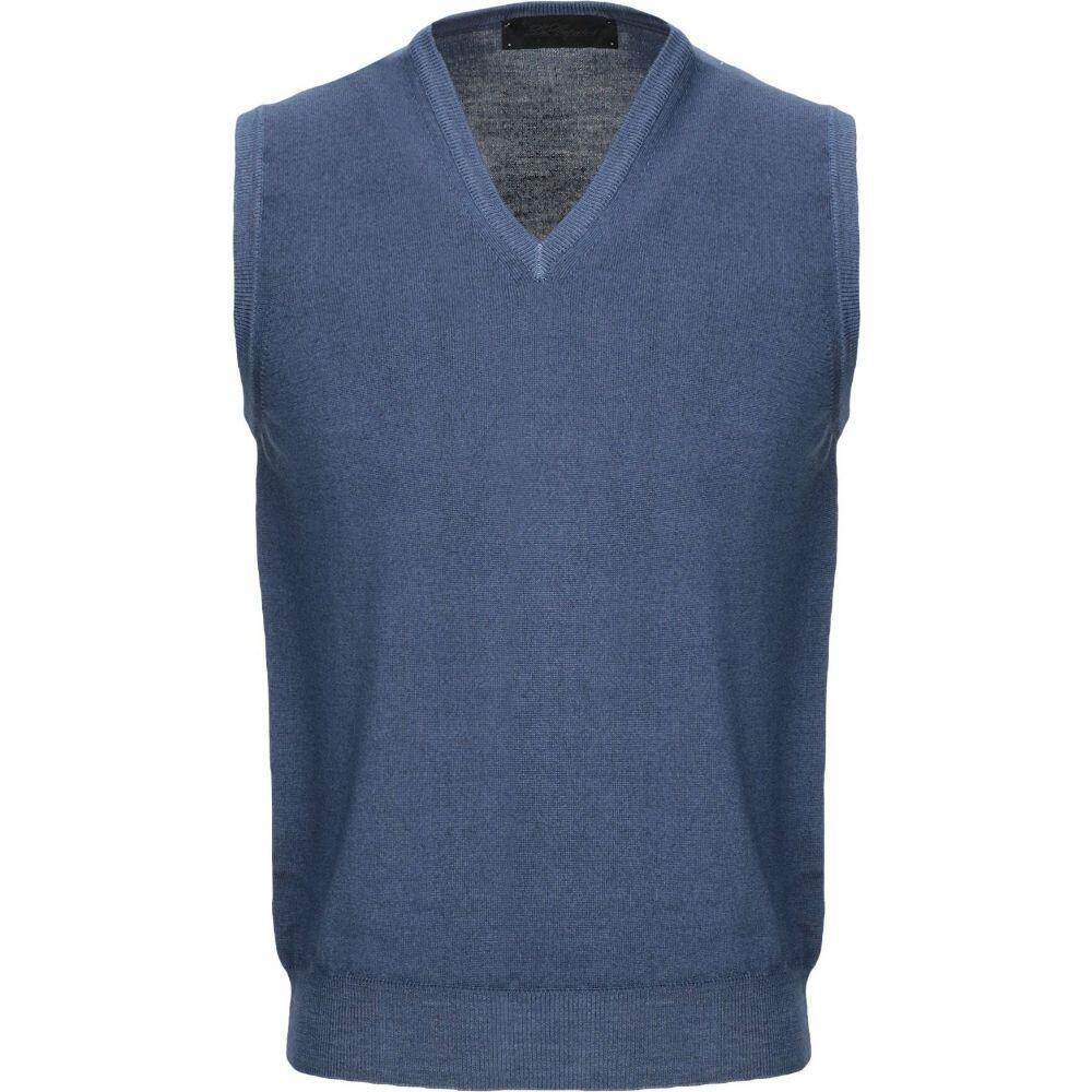レ コパン LES COPAINS メンズ ベスト・ジレ トップス【sleeveless sweater】Blue