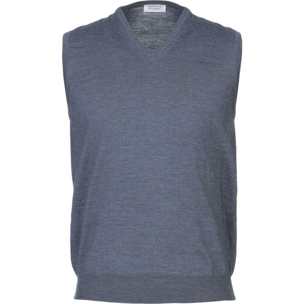 ヘリテイジ HERITAGE メンズ ベスト・ジレ トップス【sleeveless sweater】Slate blue
