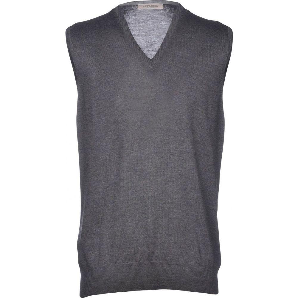 ラ フィレリア LA FILERIA メンズ ベスト・ジレ トップス【sleeveless sweater】Steel grey