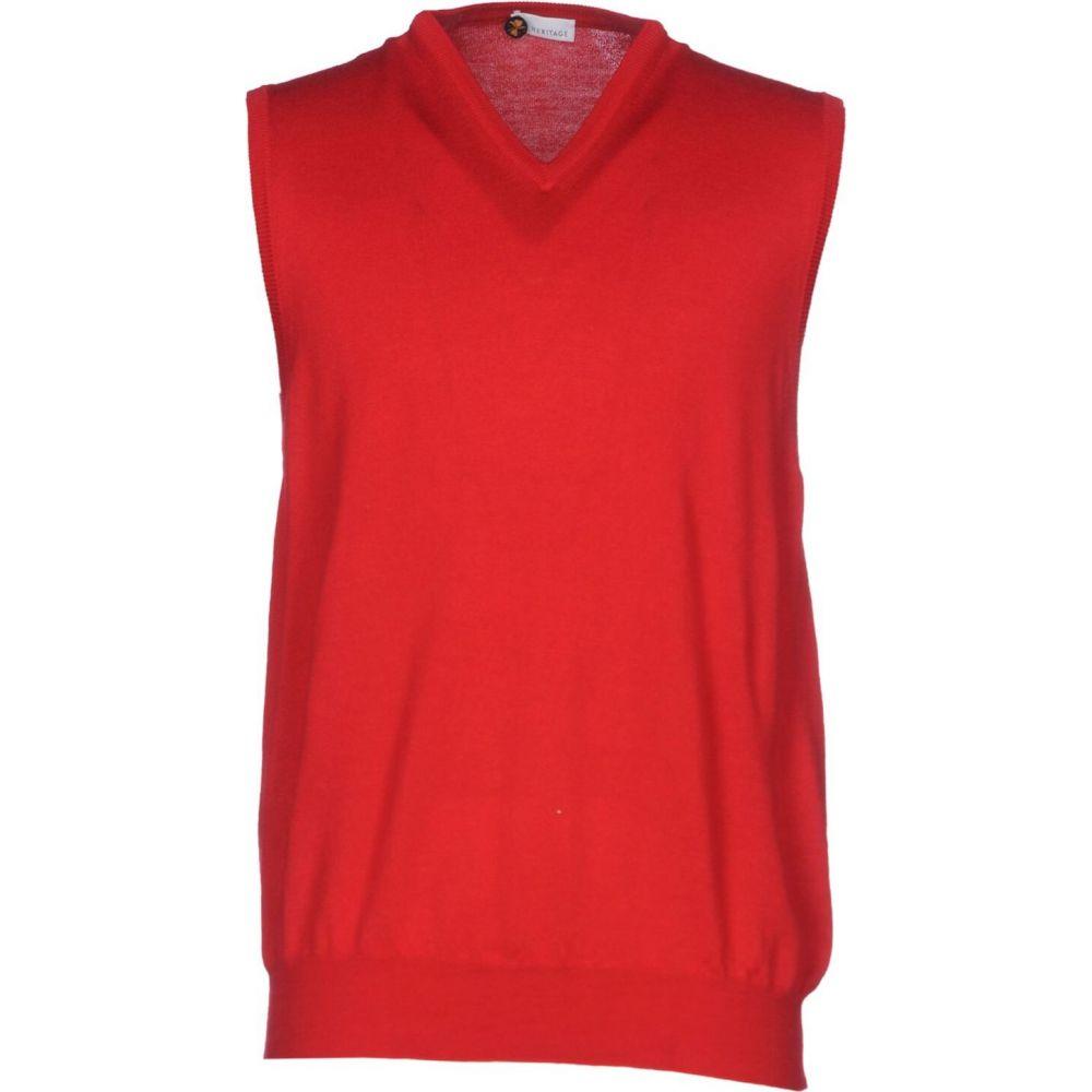 ヘリテイジ HERITAGE メンズ ベスト・ジレ トップス【sleeveless sweater】Red