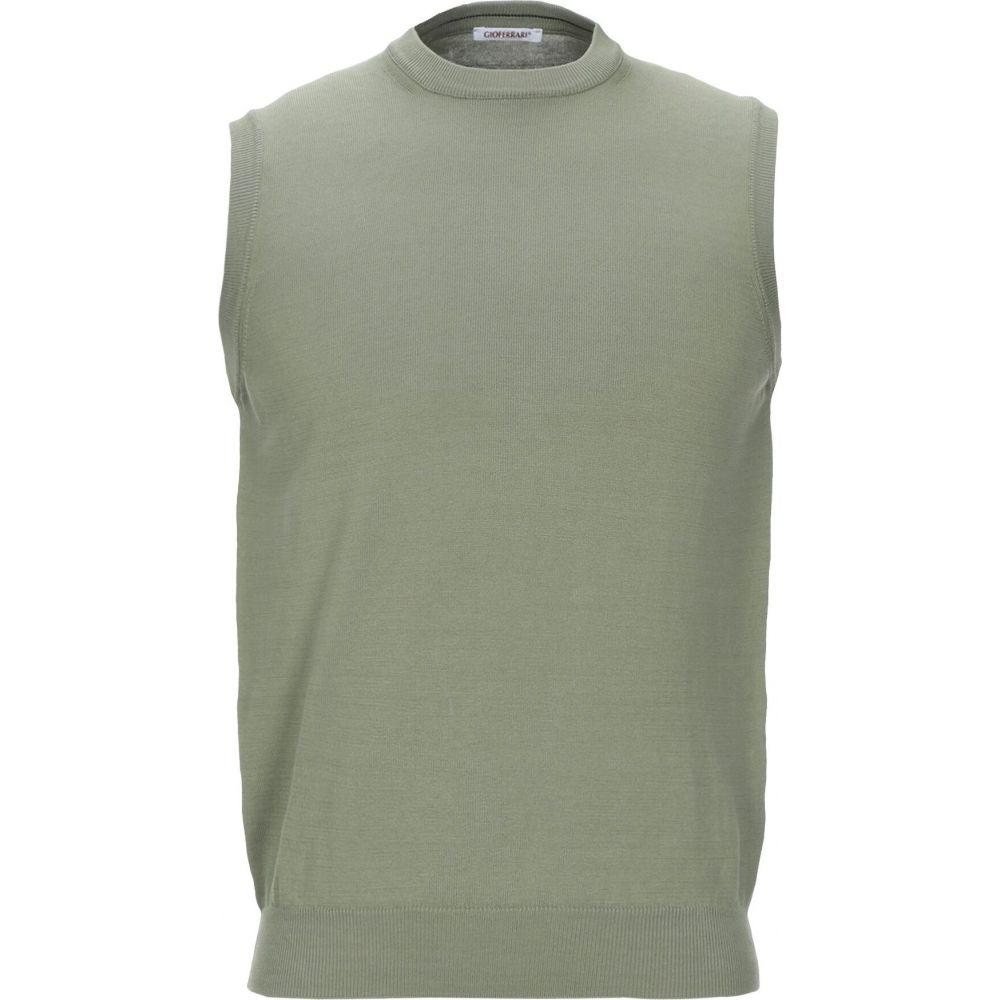 ジオ フェラーリ GIOFERRARI メンズ ベスト・ジレ トップス【sleeveless sweater】Military green