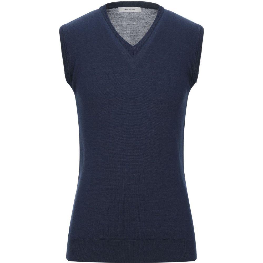 ウールアンドコー WOOL & CO メンズ ベスト・ジレ トップス【sleeveless sweater】Dark blue
