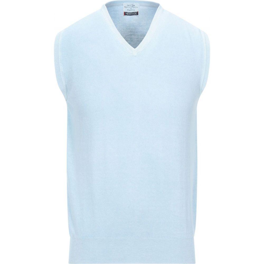 ヘリテイジ HERITAGE メンズ ベスト・ジレ トップス【sleeveless sweater】Sky blue