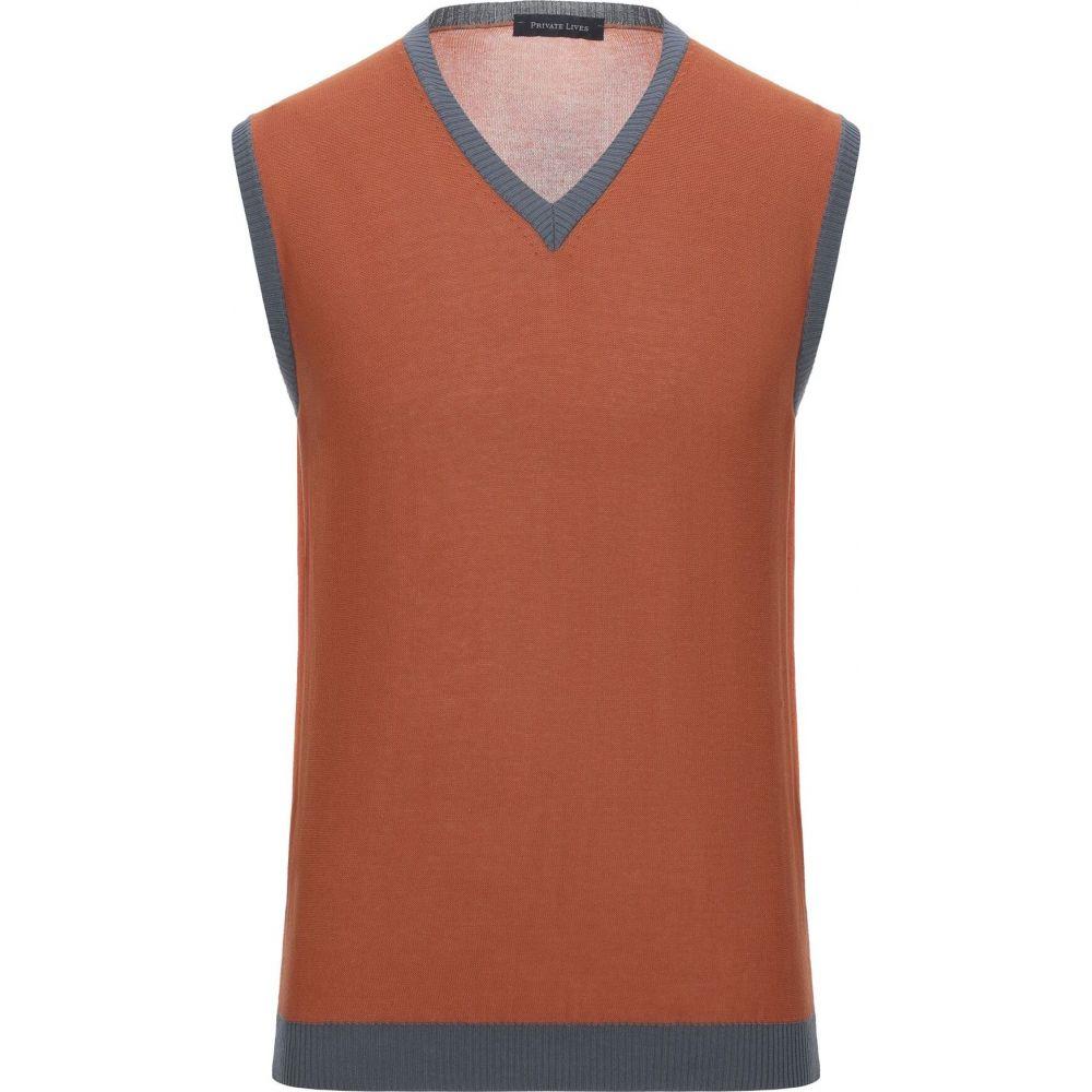 プライベートライブス PRIVATE LIVES メンズ ベスト・ジレ トップス【sleeveless sweater】Rust