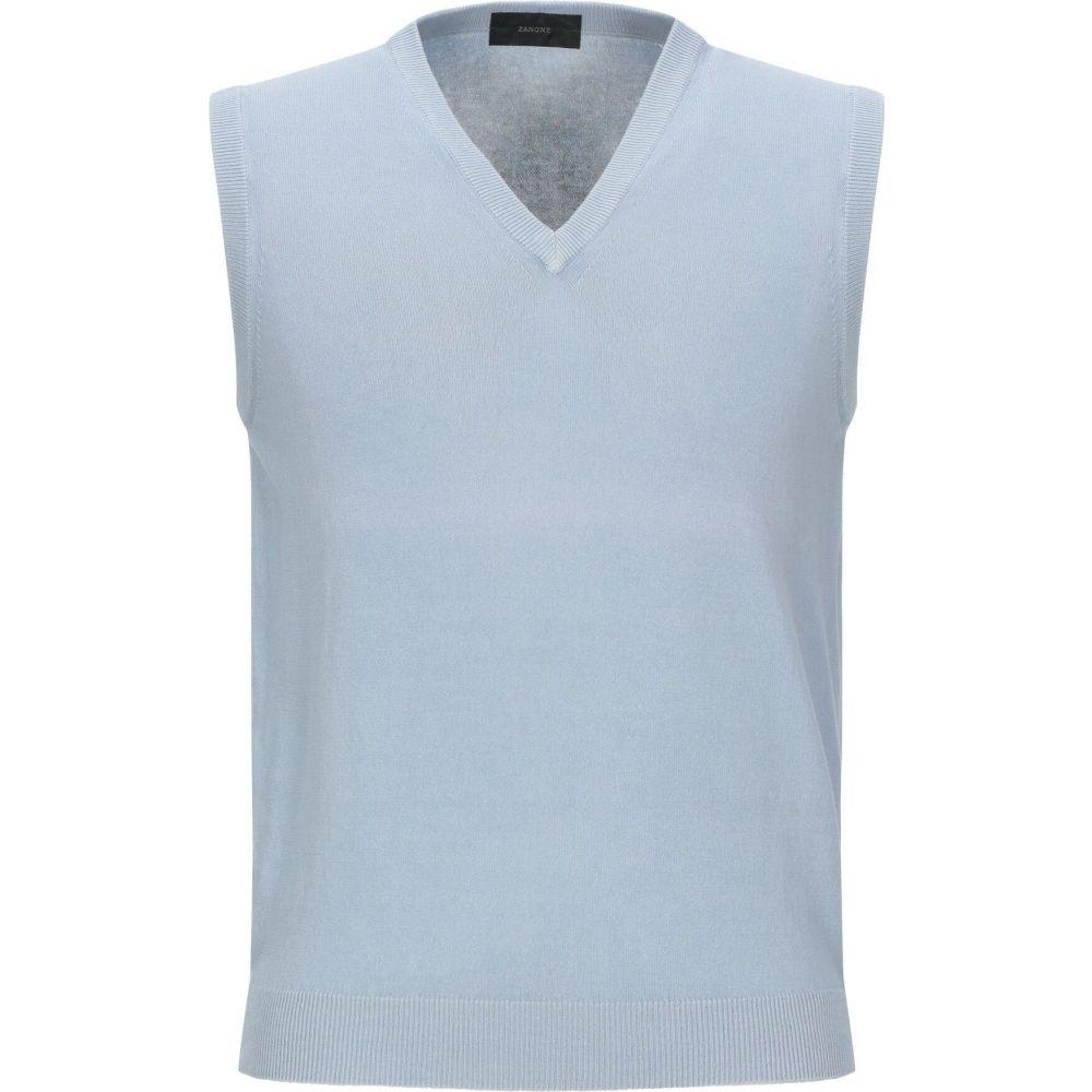 ザノーネ ZANONE メンズ ベスト・ジレ トップス【sleeveless sweater】Sky blue