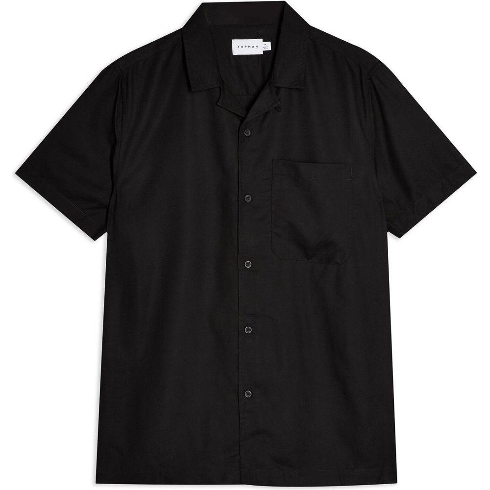 トップマン TOPMAN メンズ 半袖シャツ トップス【short sleeve black eco vero revere shirt solid color shirt】Black