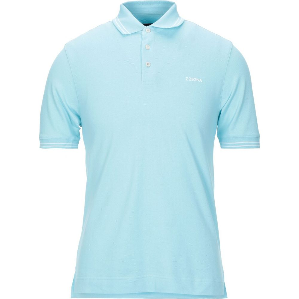ZZEGNA メンズ ポロシャツ トップス【polo shirt】Sky blue