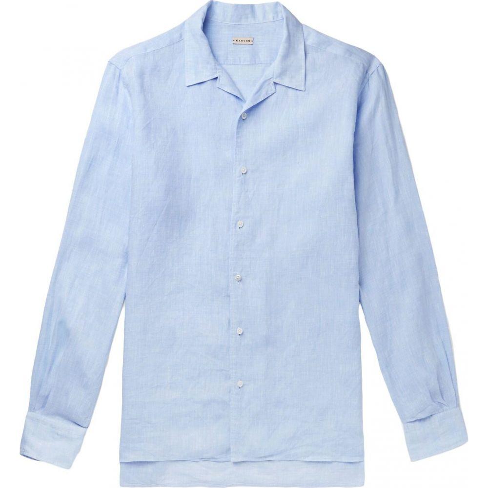 カルーゾ CARUSO メンズ シャツ トップス【linen shirt】Sky blue