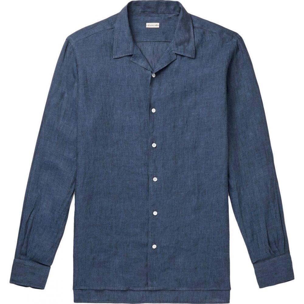 カルーゾ CARUSO メンズ シャツ トップス【linen shirt】Blue