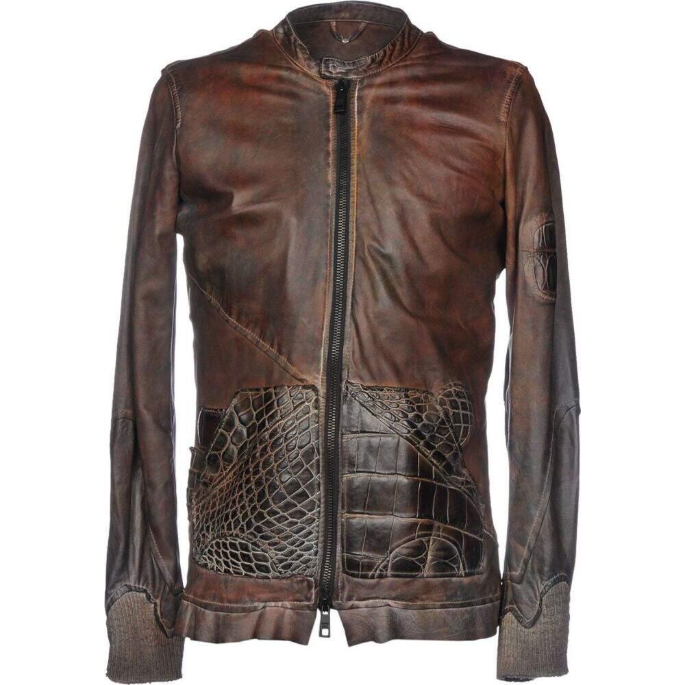 ジョルジオ ブラット GIORGIO BRATO メンズ ジャケット ライダース アウター【biker jacket】Dark brown
