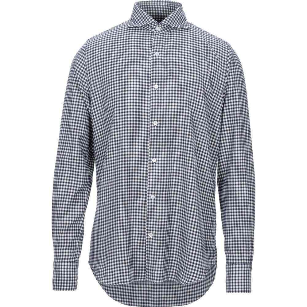 フィナモレ FINAMORE 1925 メンズ シャツ トップス【checked shirt】Dark blue
