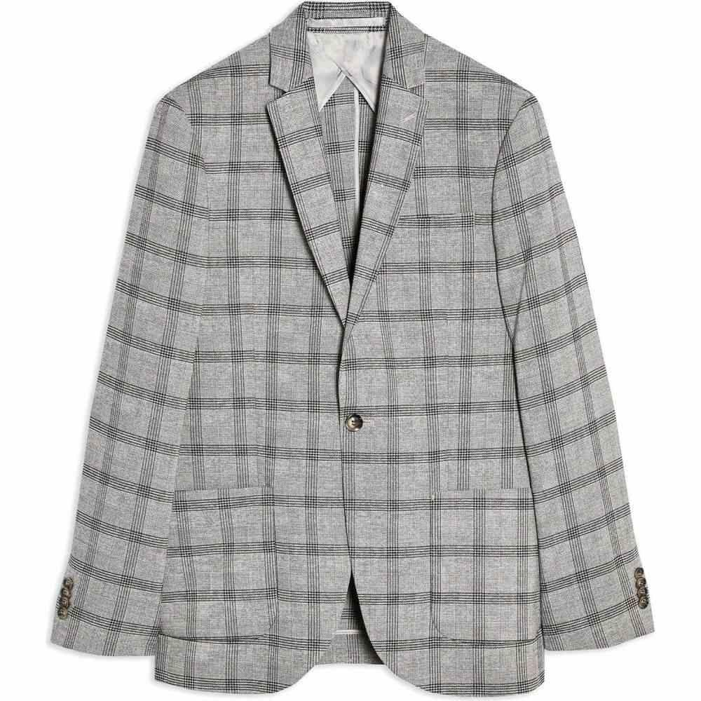 <title>トップマン メンズ アウター テレビで話題 スーツ ジャケット Grey サイズ交換無料 TOPMAN grey slim fit check single breasted suit blazer with notch lapels</title>