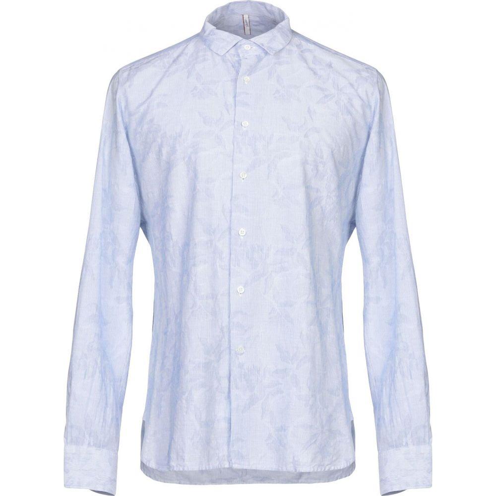 グランシャツ GLANSHIRT メンズ シャツ トップス【striped shirt】Sky blue