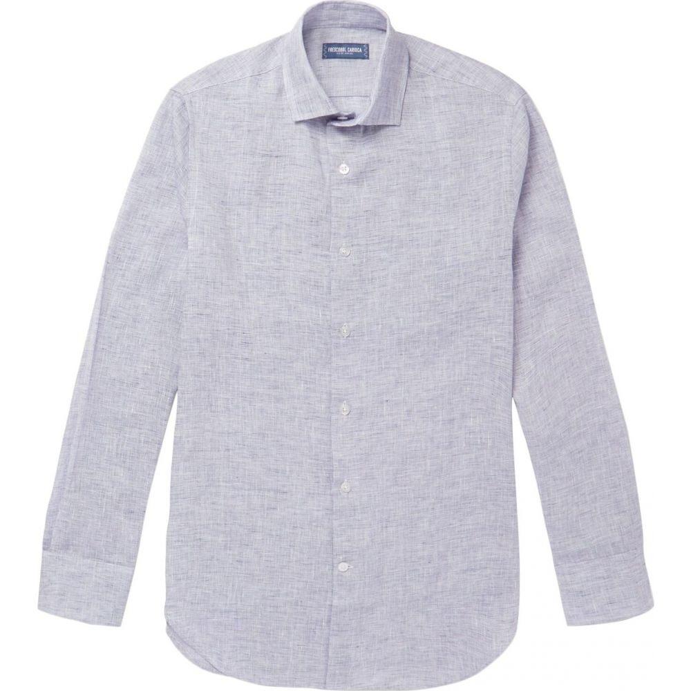 フレスコボールカリオカ FRESCOBOL CARIOCA メンズ シャツ トップス【linen shirt】Blue