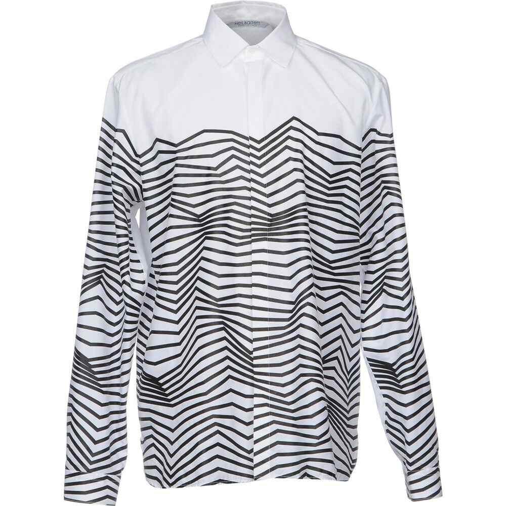 ニール バレット NEIL BARRETT メンズ シャツ トップス【striped shirt】White