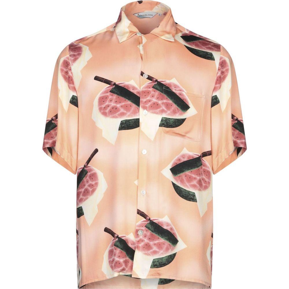 ニポアロハ NIPOALOHA メンズ シャツ トップス【patterned shirt】Salmon pink