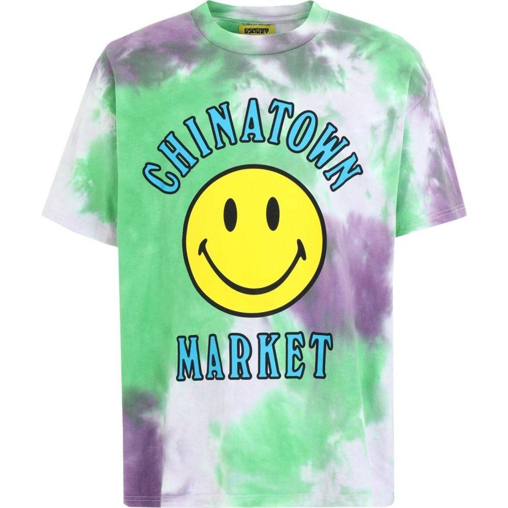 【500円引きクーポン】 チャイナタウンマーケット CHINATOWN MARKET メンズ Tシャツ トップス【smiley multi t-shirt】Green, 兵庫区 80c910d1