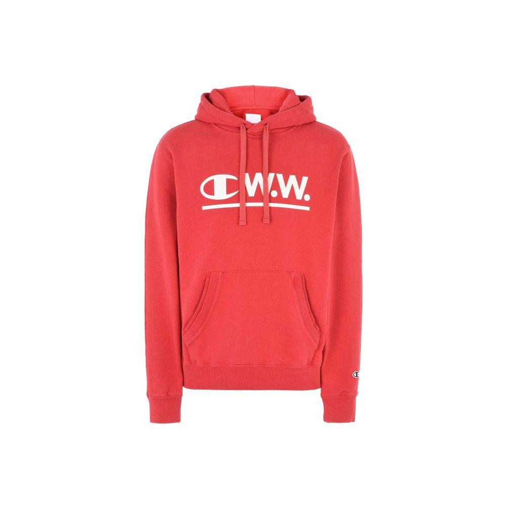 チャンピオン CHAMPION x WOOD WOOD メンズ パーカー トップス【logo cww hooded sweatshirt】Red