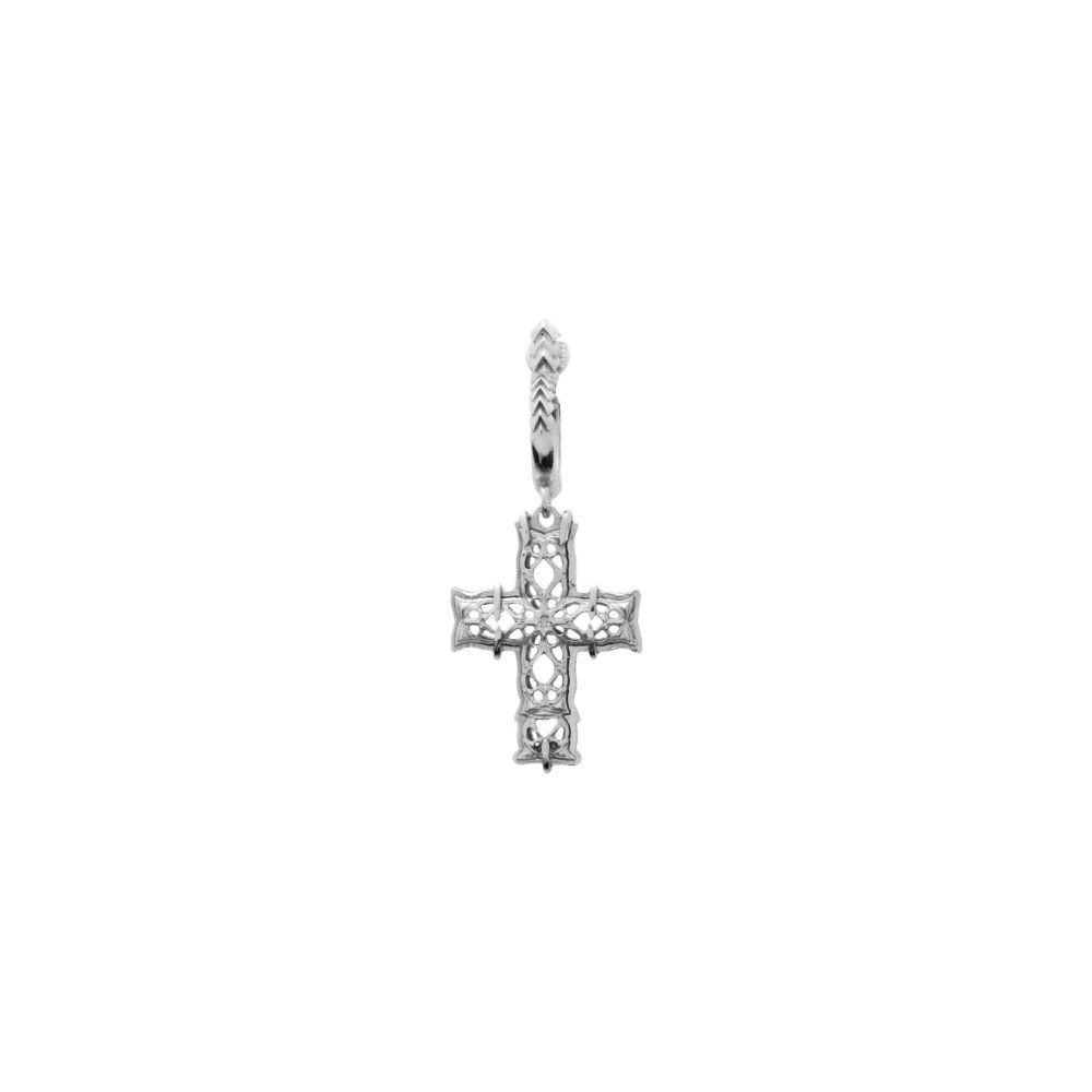 エマニュエレ ビコッキ EMANUELE BICOCCHI メンズ イヤリング・ピアス ジュエリー・アクセサリー【cross single small earring】Silver