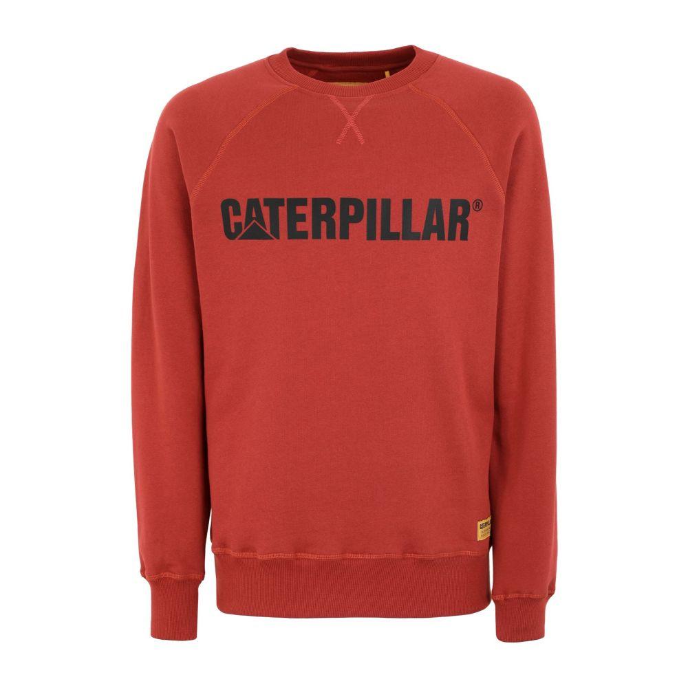 キャピタラー カジュアル CATERPILLAR メンズ スウェット・トレーナー トップス【roundneck sweatshirt】Brick red