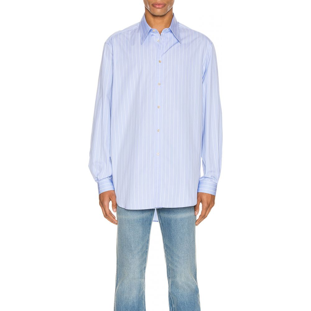 グッチ Gucci メンズ シャツ トップス【oversized striped cotton shirt】Azure/White