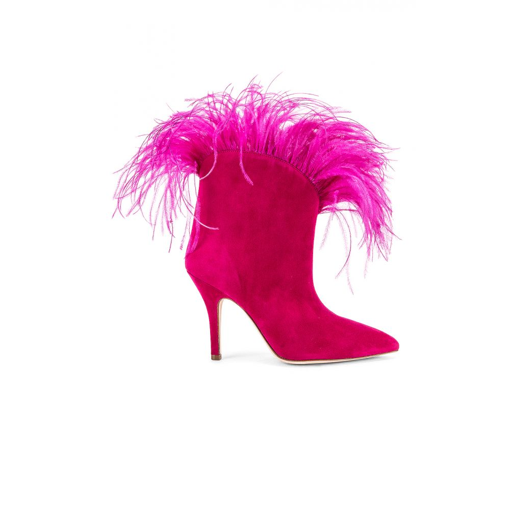 パリ テキサス Paris Texas レディース ブーツ シューズ・靴【Suede Stiletto Ankle boot with Marabou Feathers】Fuchsia