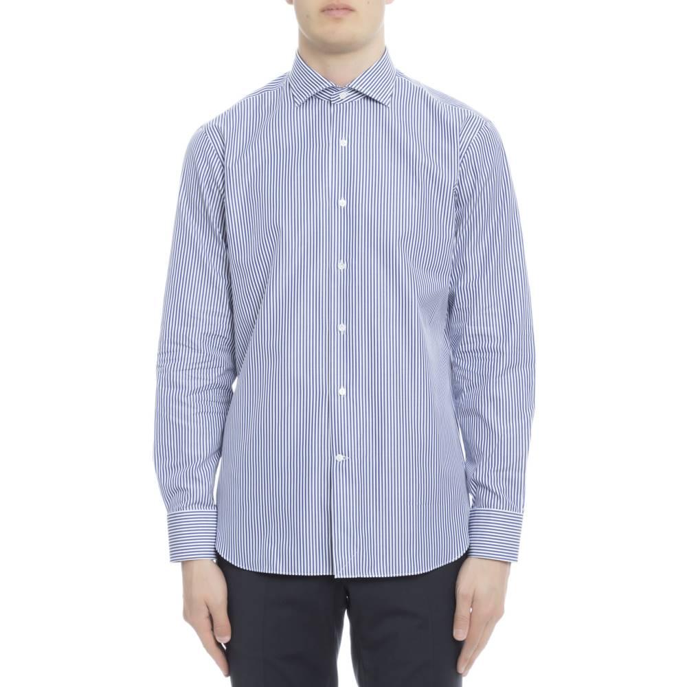 ゲラルディ メンズ トップス シャツ【Striped cotton shirt】Light blue