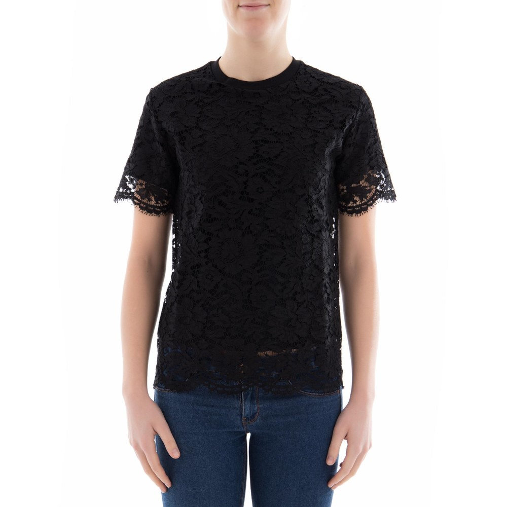 ヴァレンティノ Valentino レディース トップス Tシャツ【Black lace t-shirt】Black