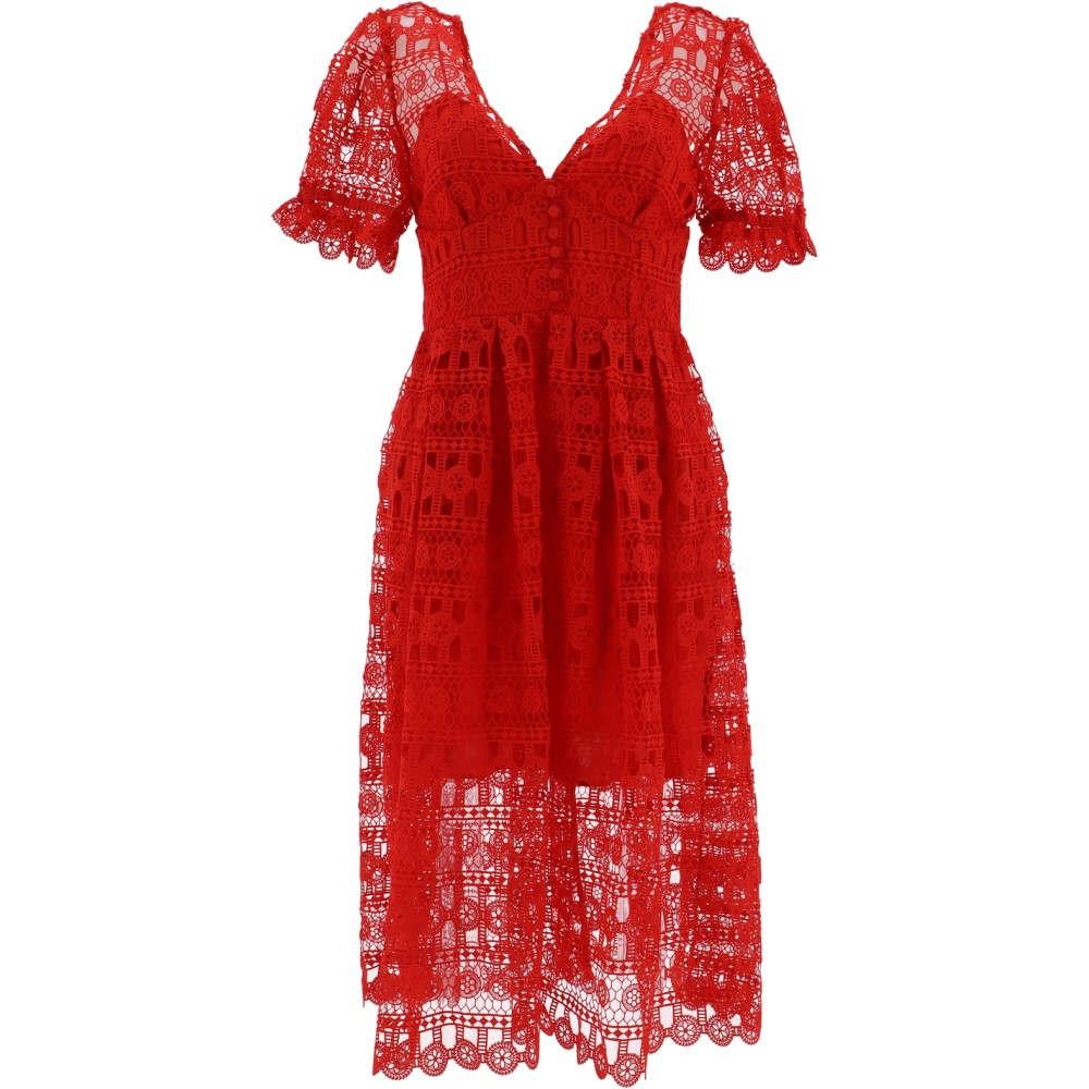 セルフ ポートレイト Self Portrait レディース ワンピース・ドレス ワンピース【Red polyester dress】Red